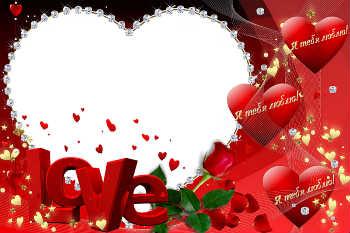Надпись на рамке: Love. Я тебя люблю!