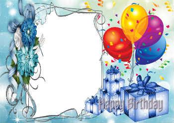 Надпись получи и распишись рамке: С Днем Рождения!